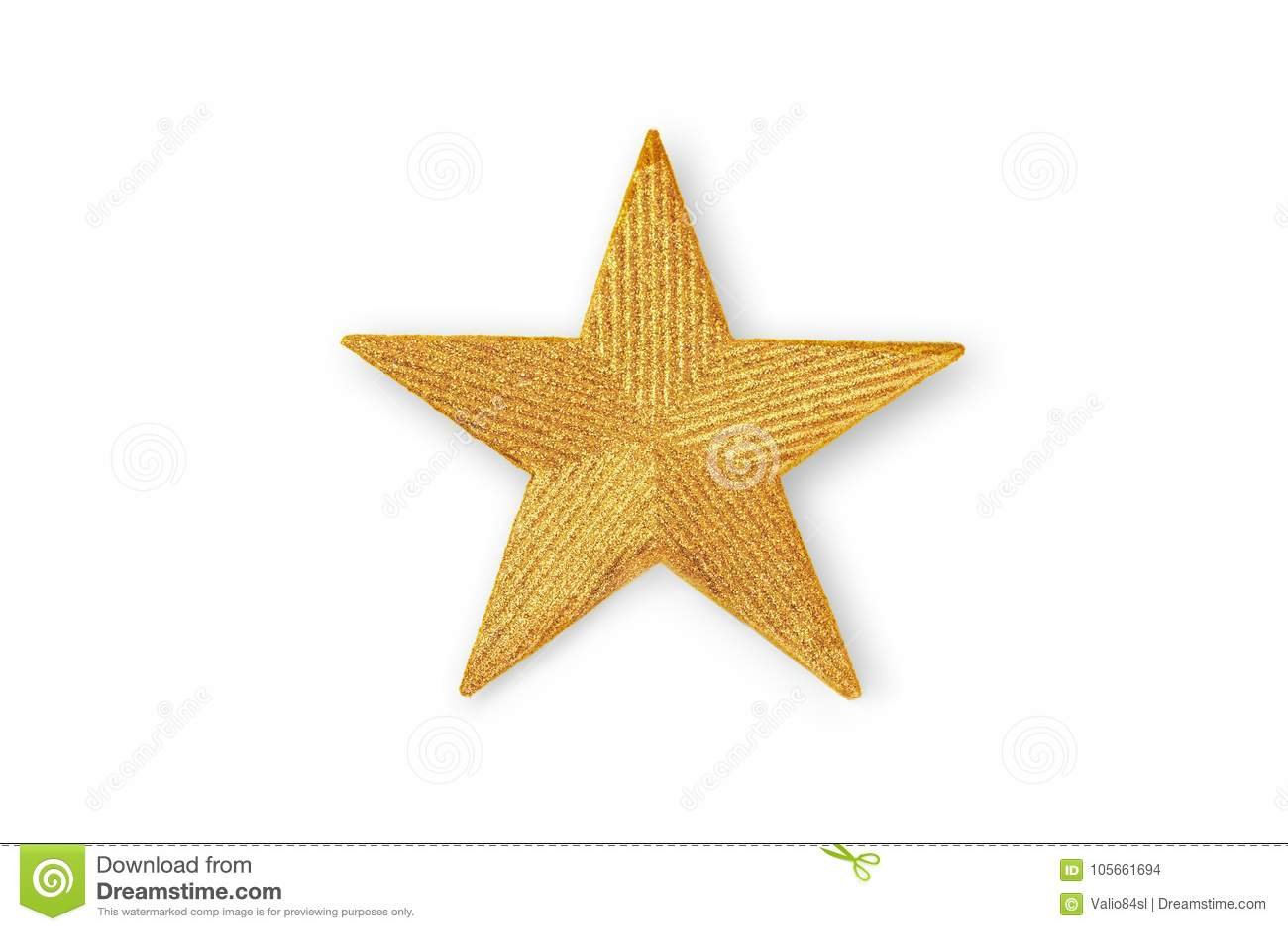 Golden Christmas star, Christmas ornament isolated on white