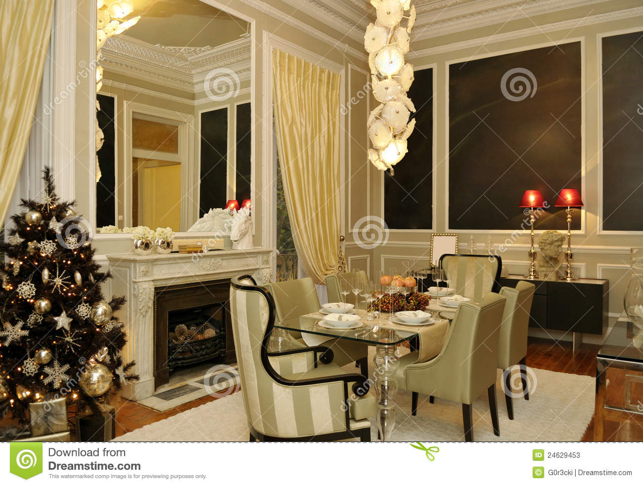 Dining Room with Golden Christmas Tree, Classic Decoration