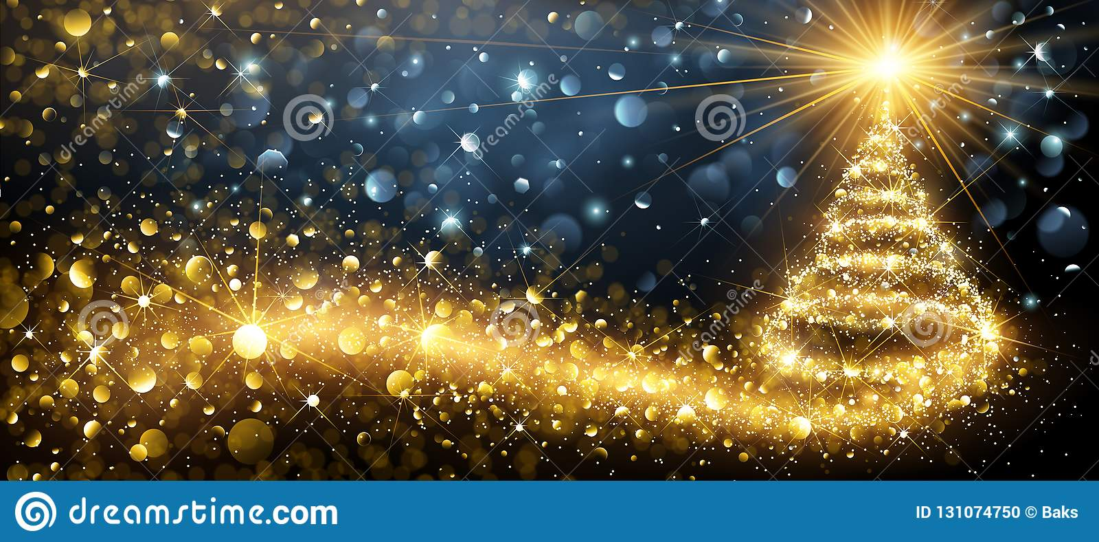 Golden Christmas Tree Vector Stock Vector Illustration Of Magic