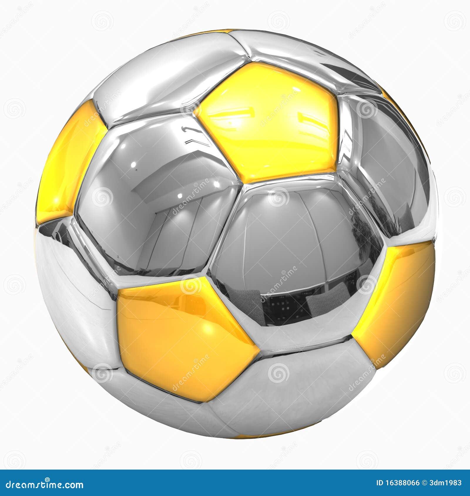 Golden Chrome Football Soccer Ball Stock Illustrations 15 Golden