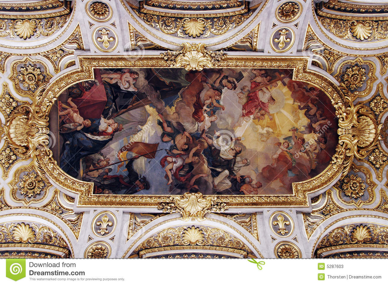 Golden Church Ceiling Stock Image Image Of Architecture