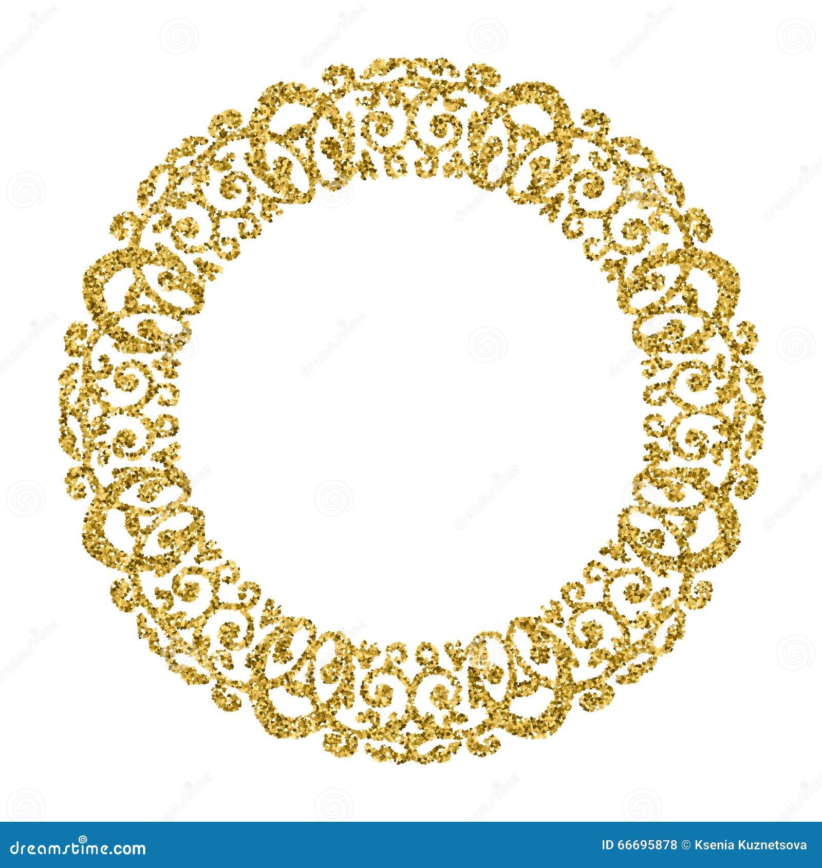 Golden Circle Ornament. Round Photo Frame.Gold Glitter Stock Vector ...