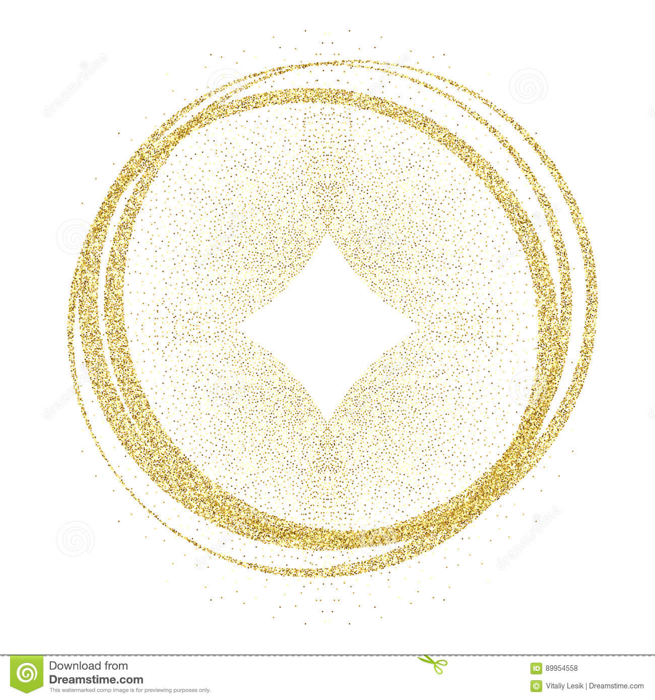 Golden circles and rings. Decoration design element of gold foil gilding texture. Festive background for New Year and