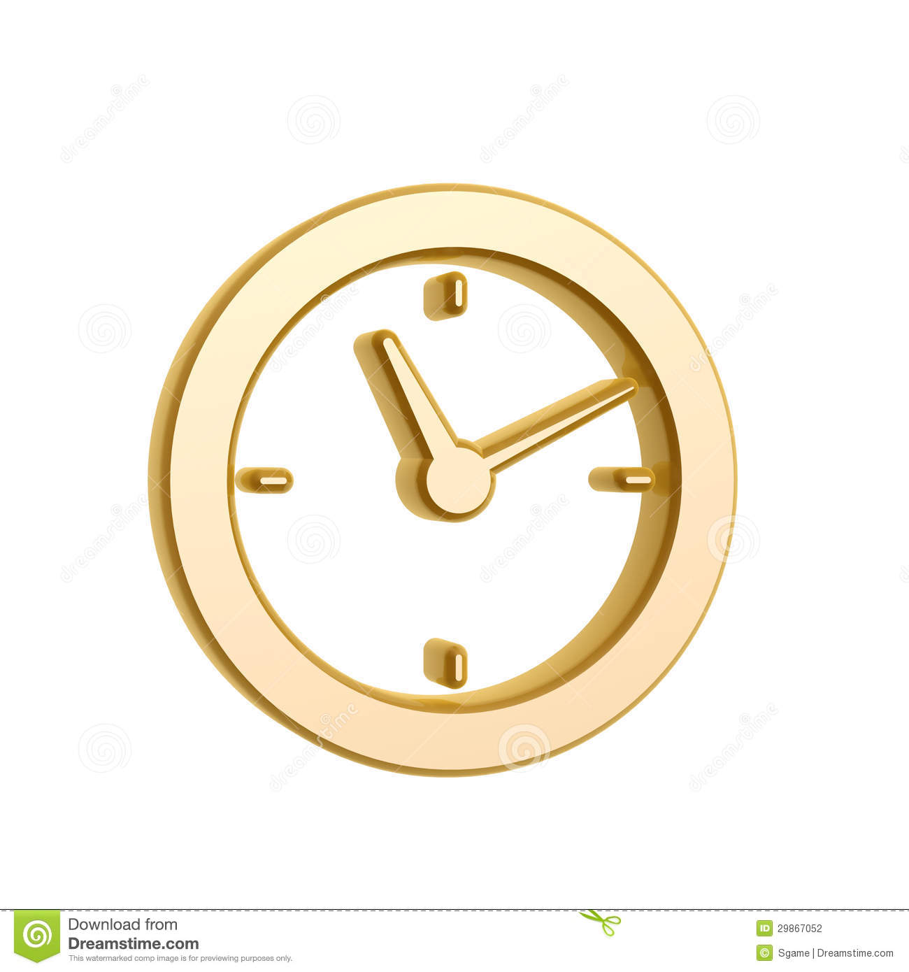 Golden Clock Symbol Stock Photography - Image: 29867052