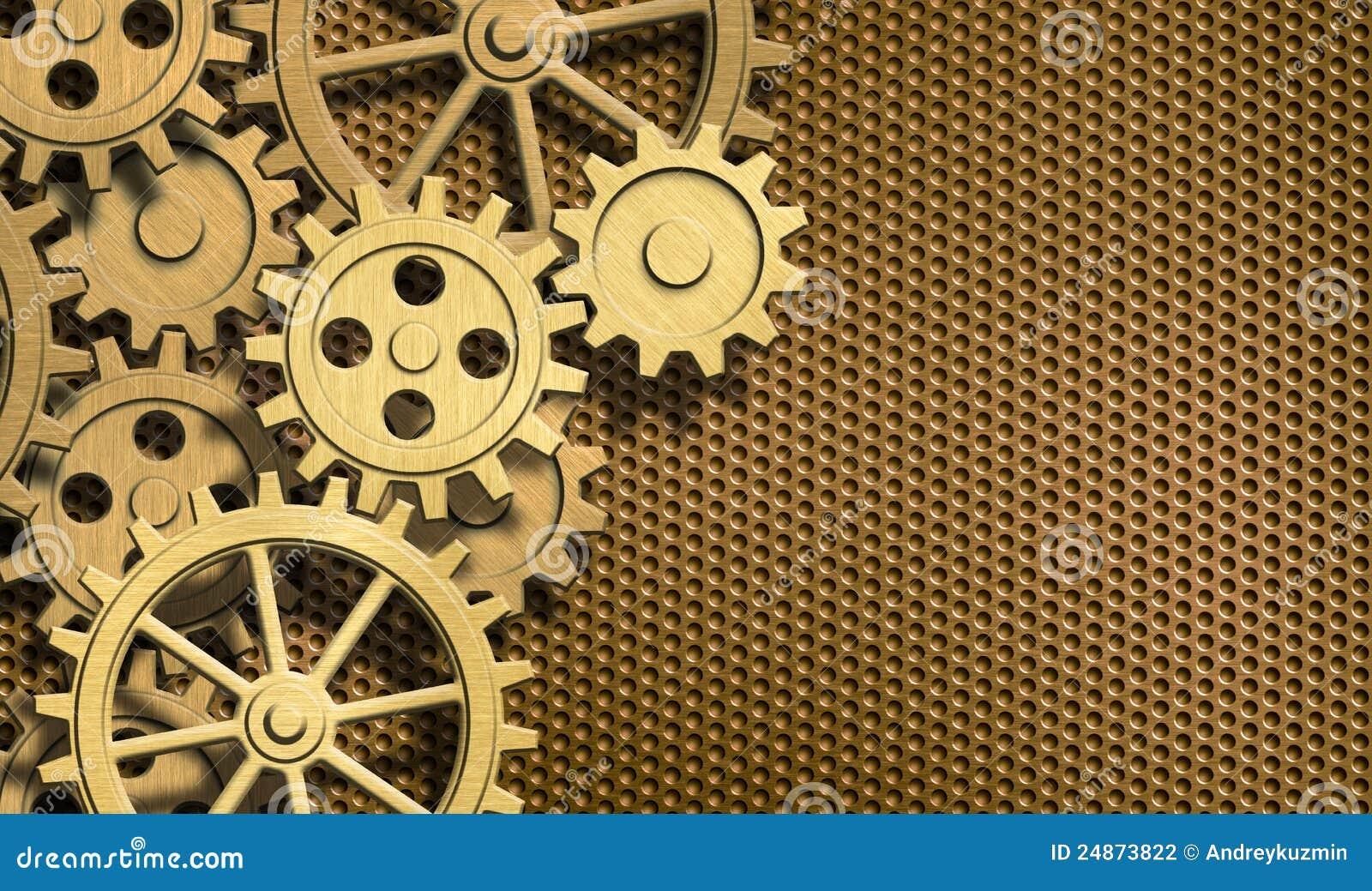 golden clockwork gears metal background stock illustration