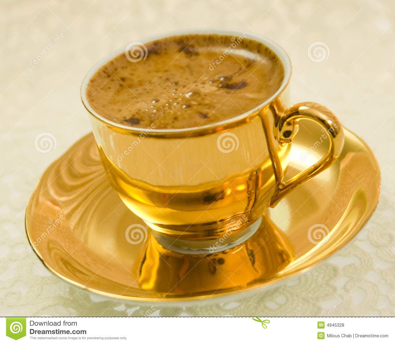 Golden Coffee Cup Stock Photo Image Of Lace Lacy Cafe