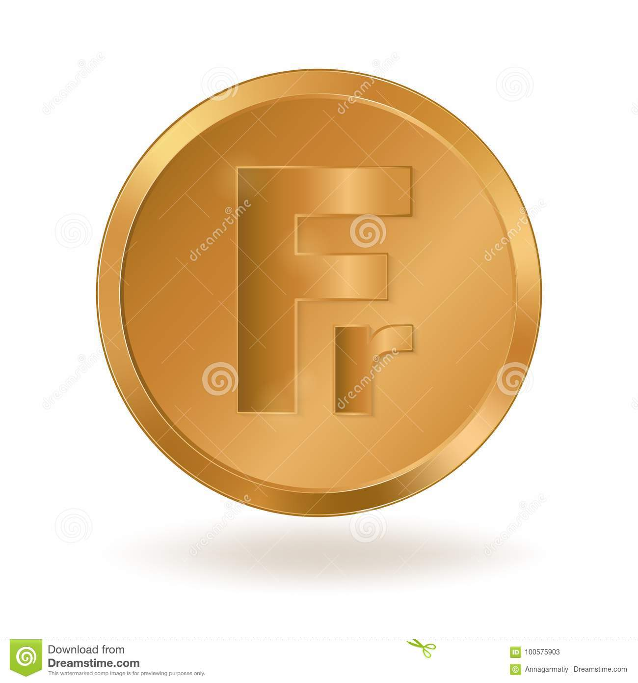 Golden coin with sign swiss franc stock vector illustration of golden coin with sign swiss franc buycottarizona Images