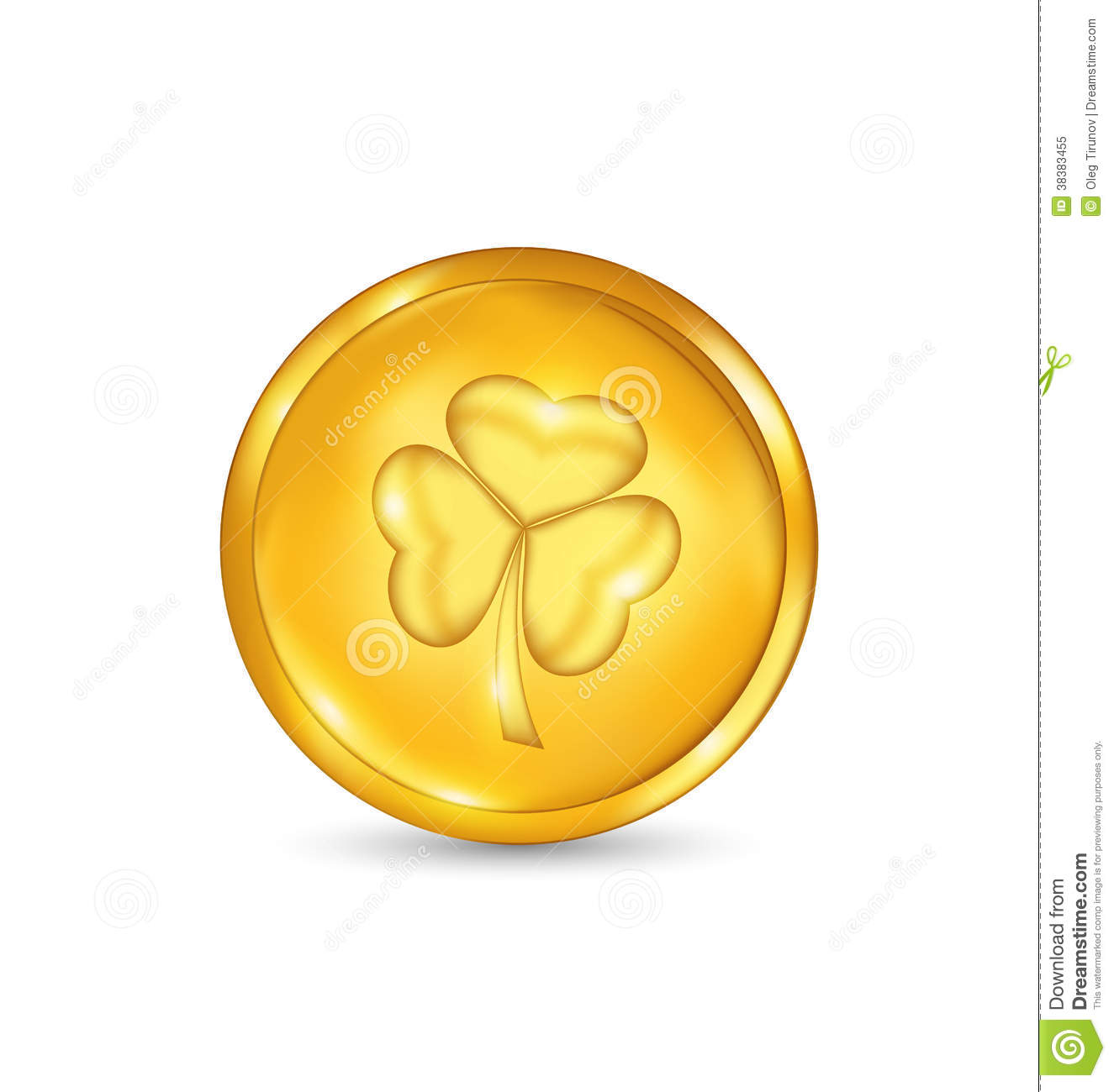 Golden coin with three leaves clover. St. Patricks