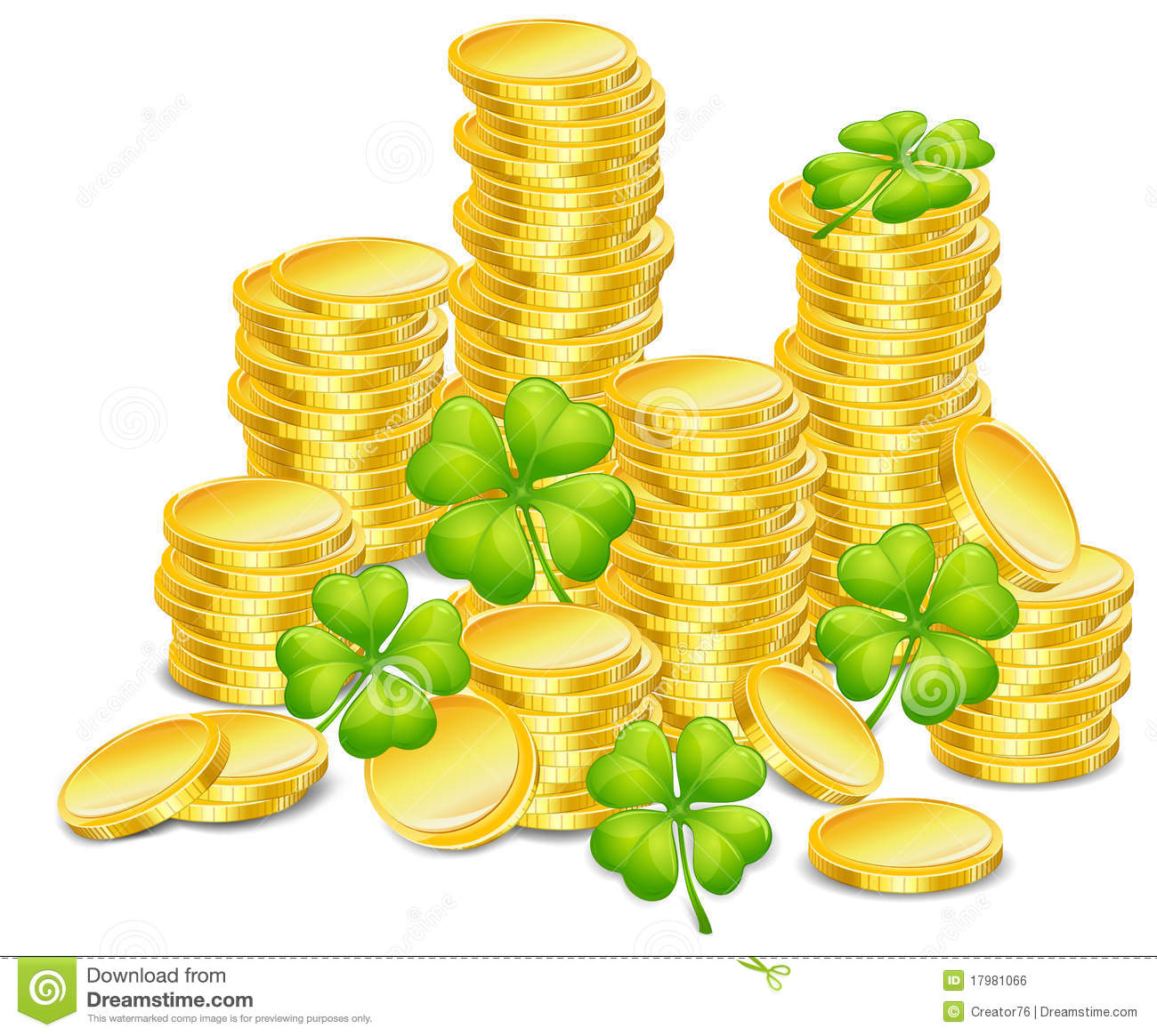Golden coins with four leaf clover, illustration, for St. Patrick's ...