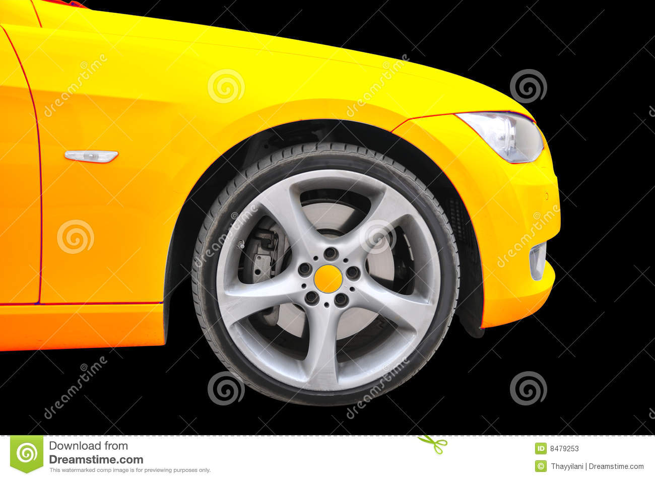 Golden Color Car Tire Close Up View Stock Photos Image