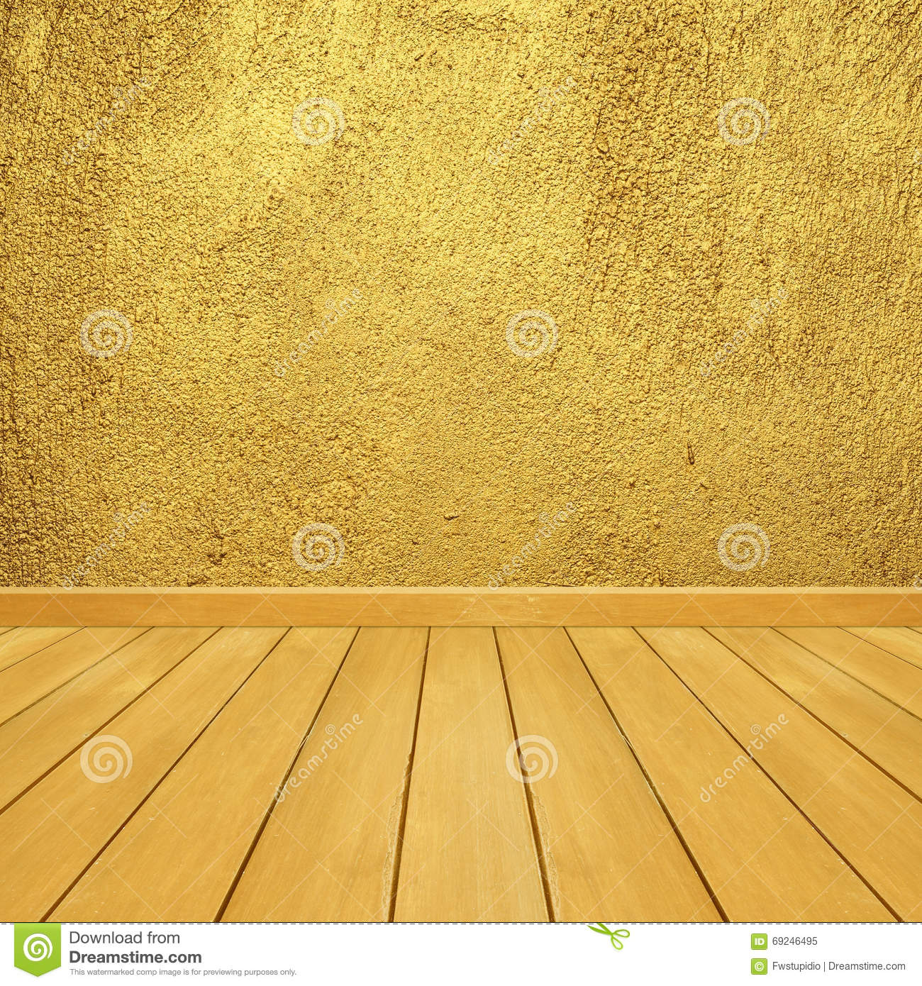 Golden Concrete Walls And Wood Floor For Text And Background.Copy ...