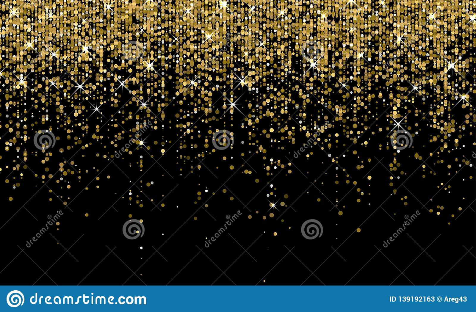 Golden Confetti Falling On Sparkling Gold Glitter Background. Vector  Carnival Party Golden Confetti Glow On Black Background Stock Vector -  Illustration of decoration, holiday: 139192163