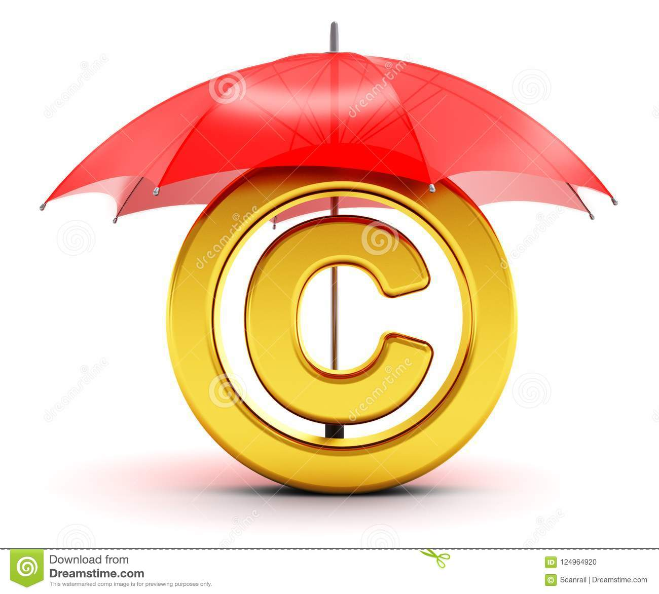 Golden Copyright Symbol Covered By Red Umbrella Stock Illustration