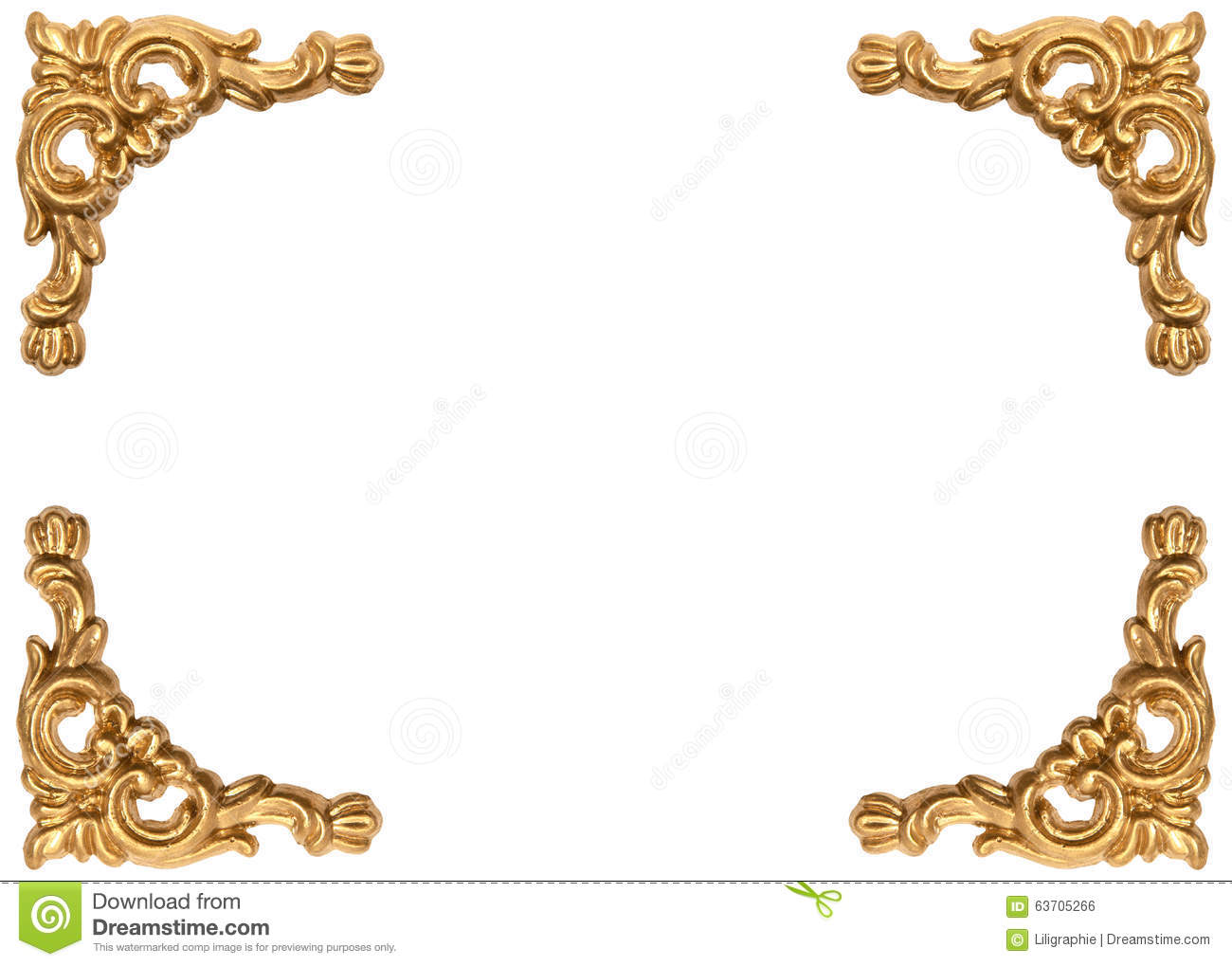 Golden corners of carved baroque style picture frame stock for Picture frame corners