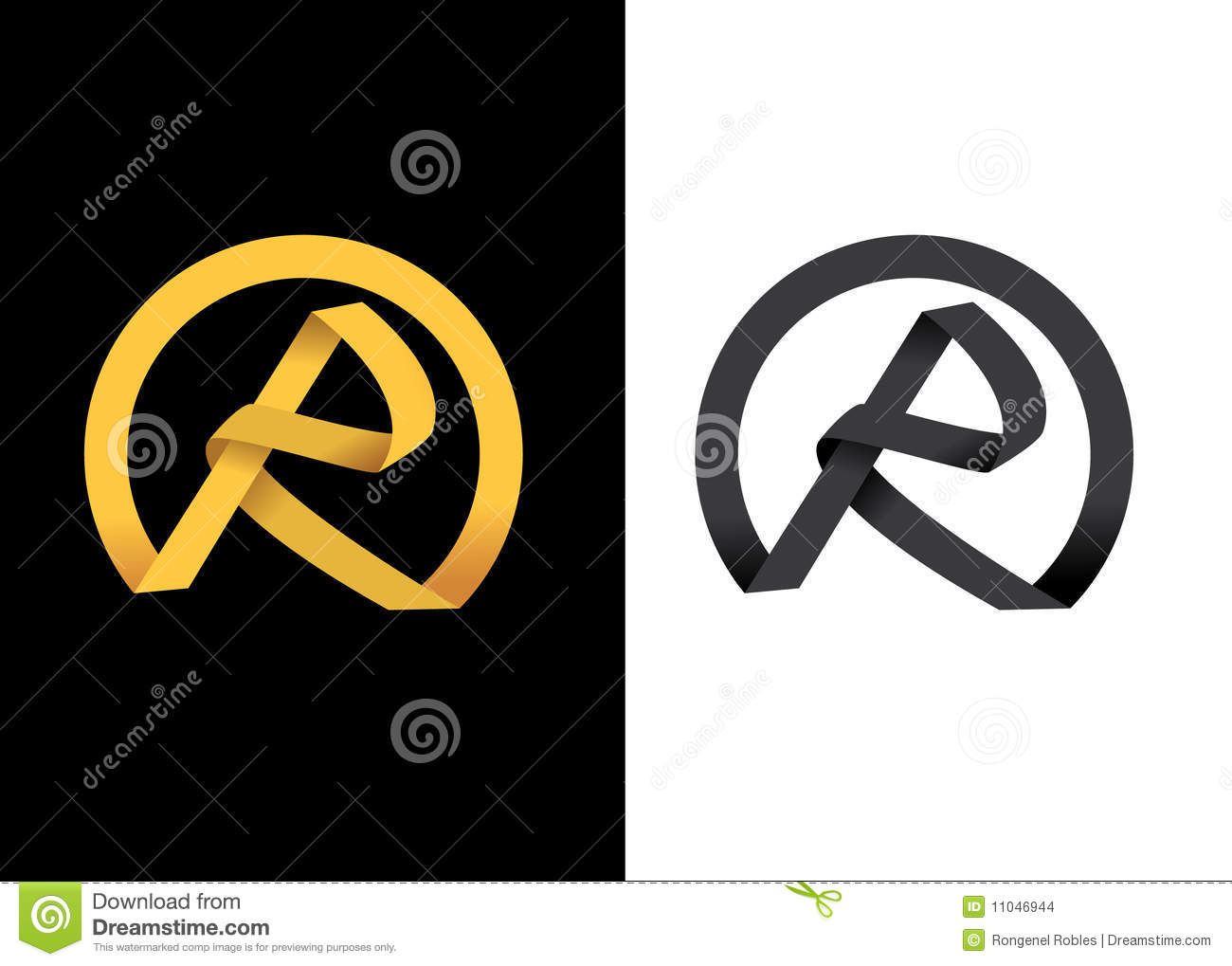 golden creative letter r initial