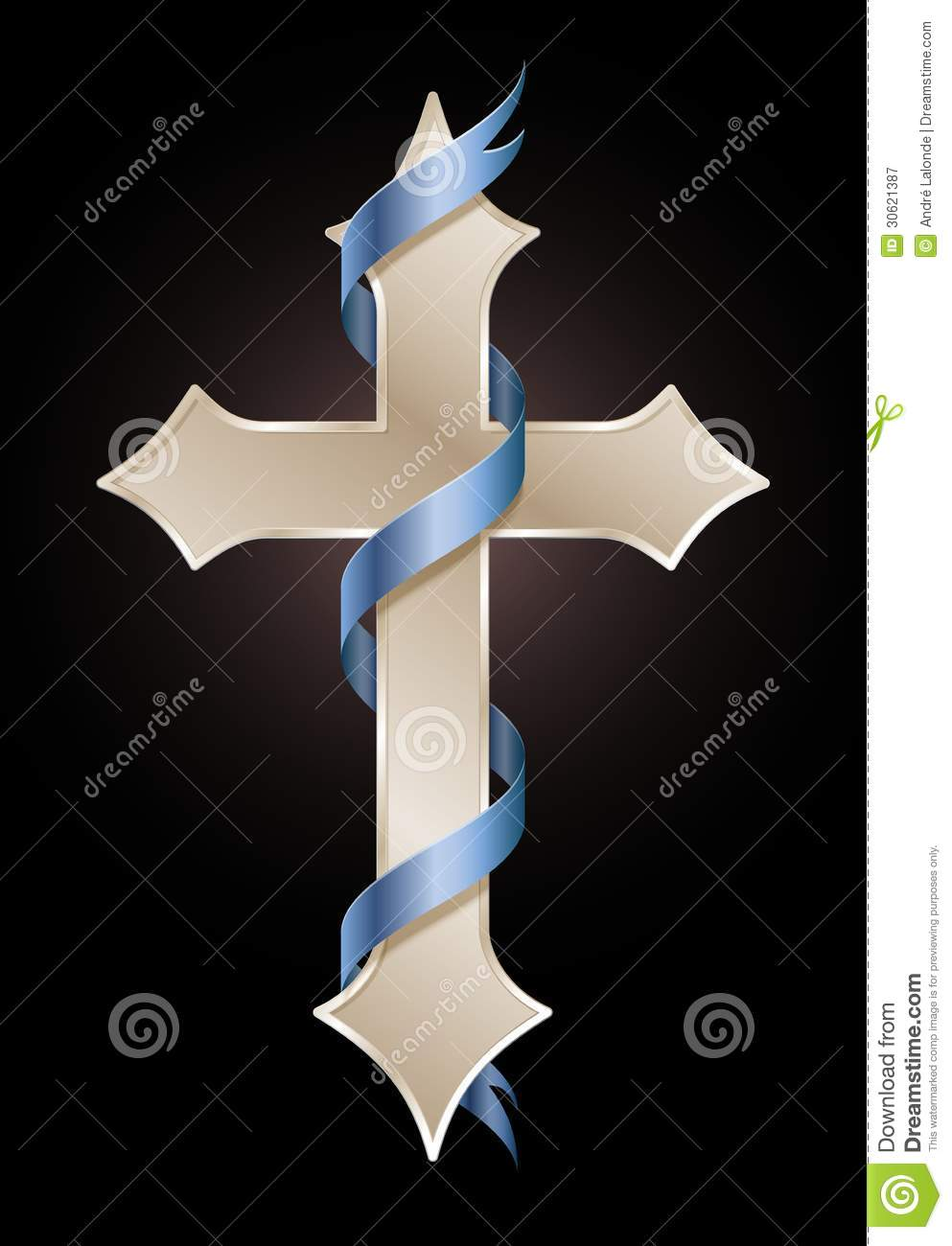 golden cross with blue ribbon royalty free stock photography