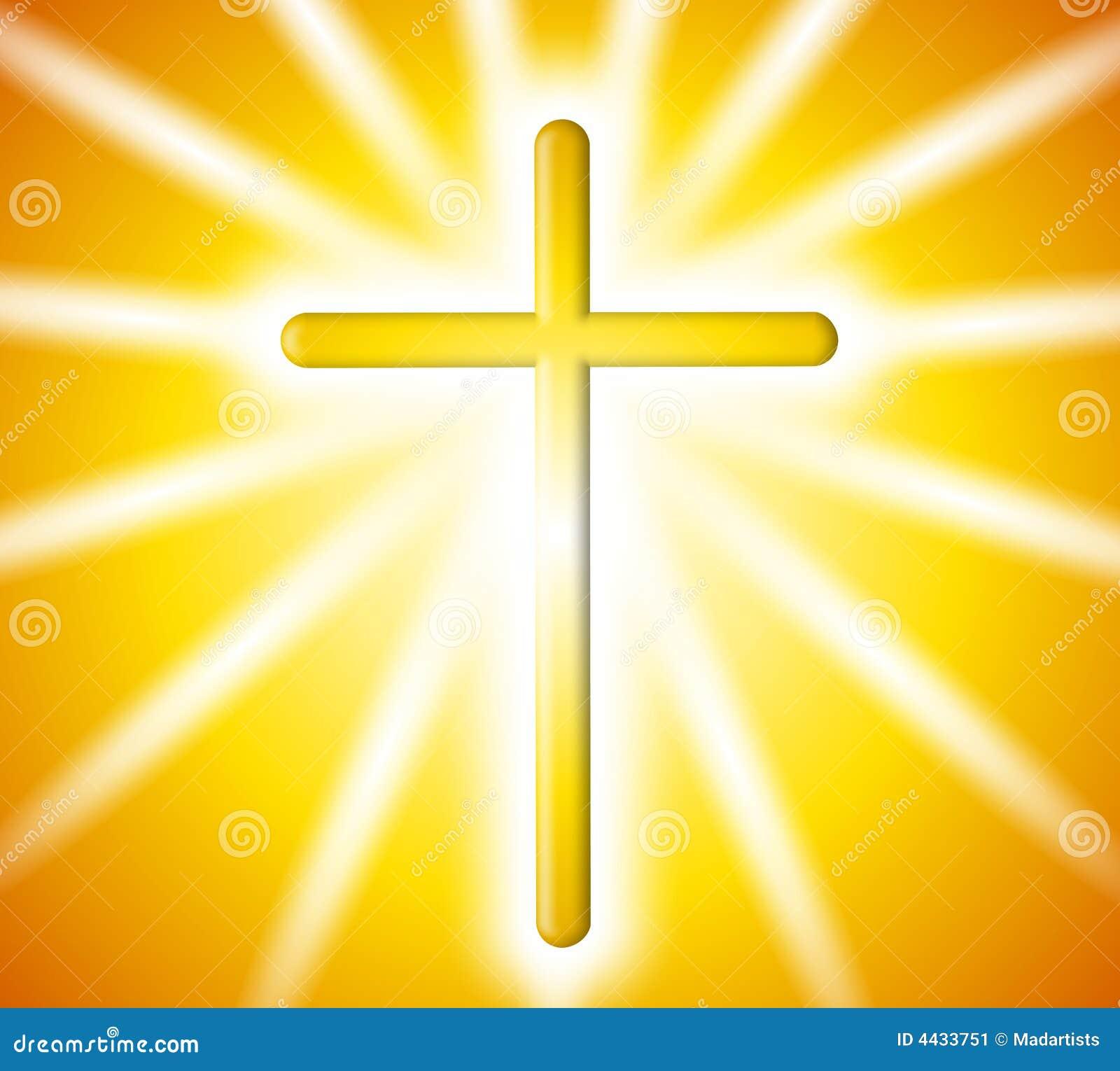 Golden Cross Light Rays Background Stock Illustration