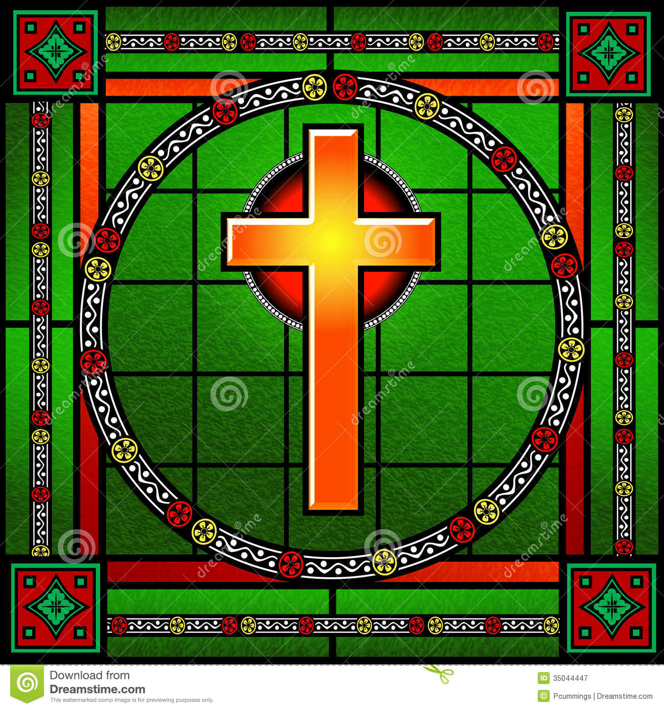 Golden cross stained glass window royalty free stock for Decorative stained glass windows