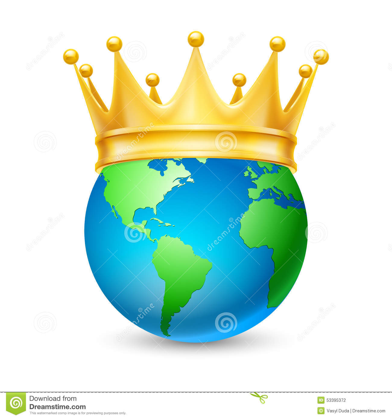 Golden Crown On The Globe Stock Vector Image 53395372