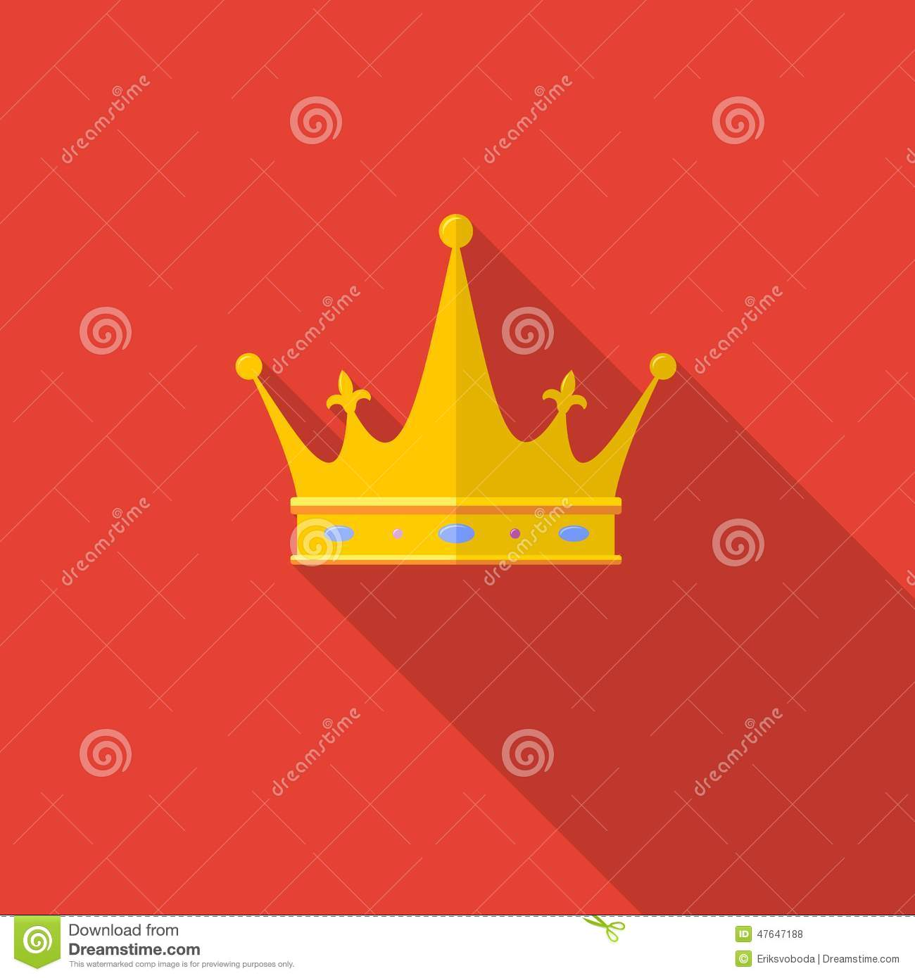 Golden Crown On Red Background With Long Shadow