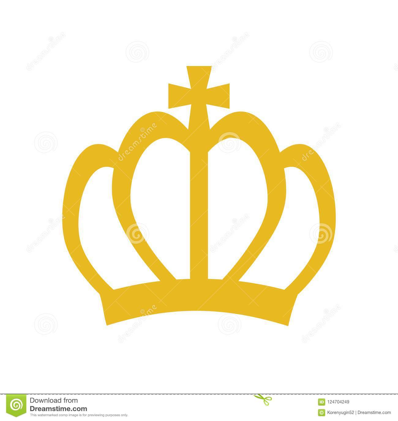 Golden Crown Symbol Icon On White Stock Vector Illustration Stock