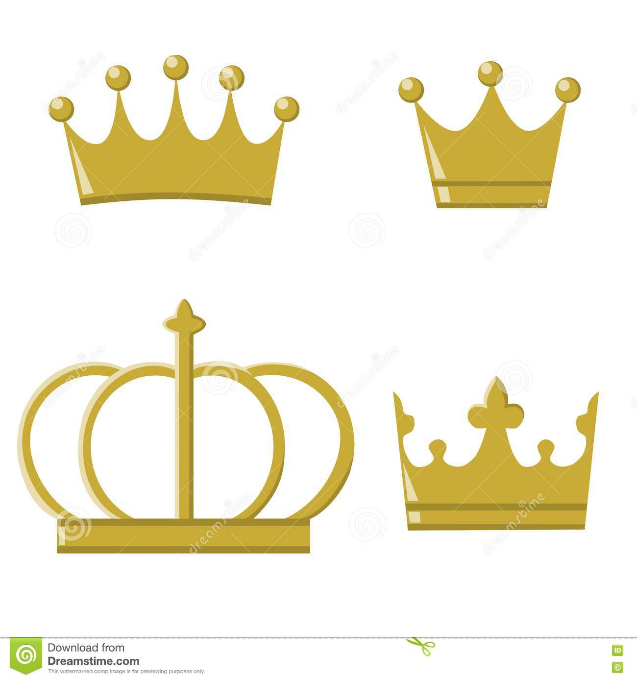 Golden Crowns For Prince And Princess Stock Illustration