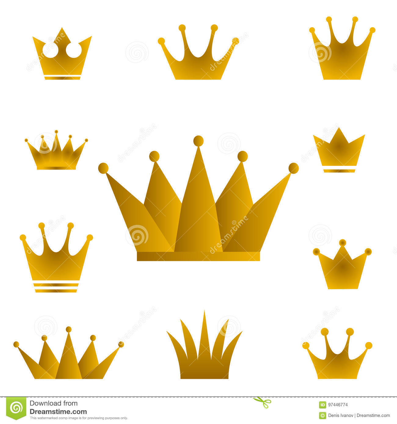 Golden Crowns Set Of Gold Crown Symbols With Golden Gra Stock