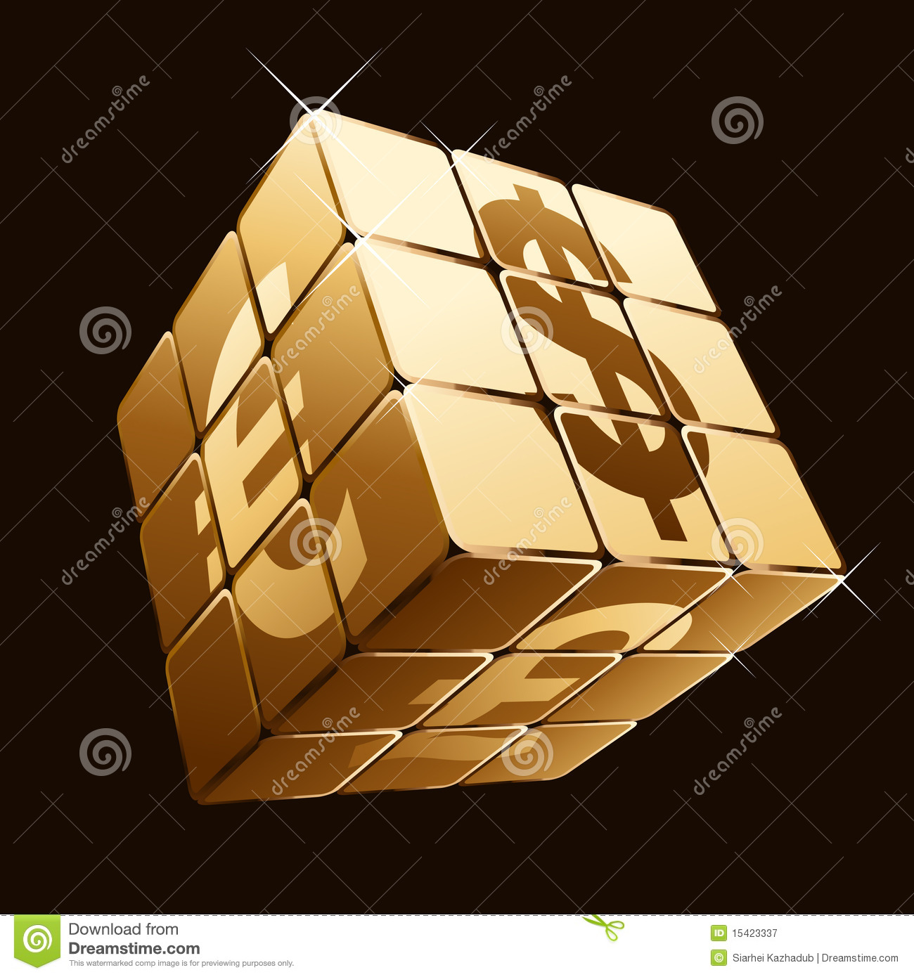 Golden cube with currency signs