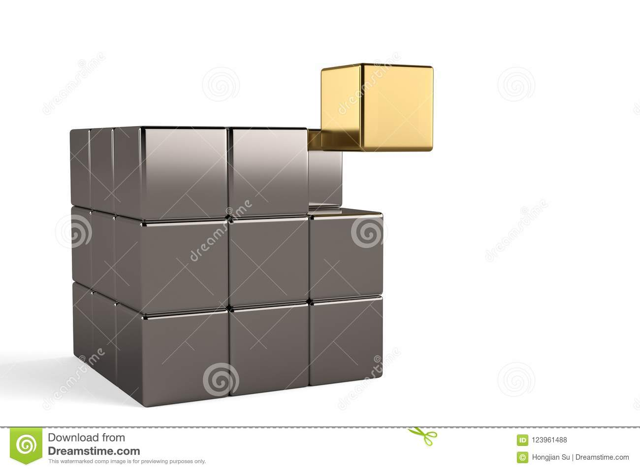Golden cube and steel cubes on white background.3D illustration.