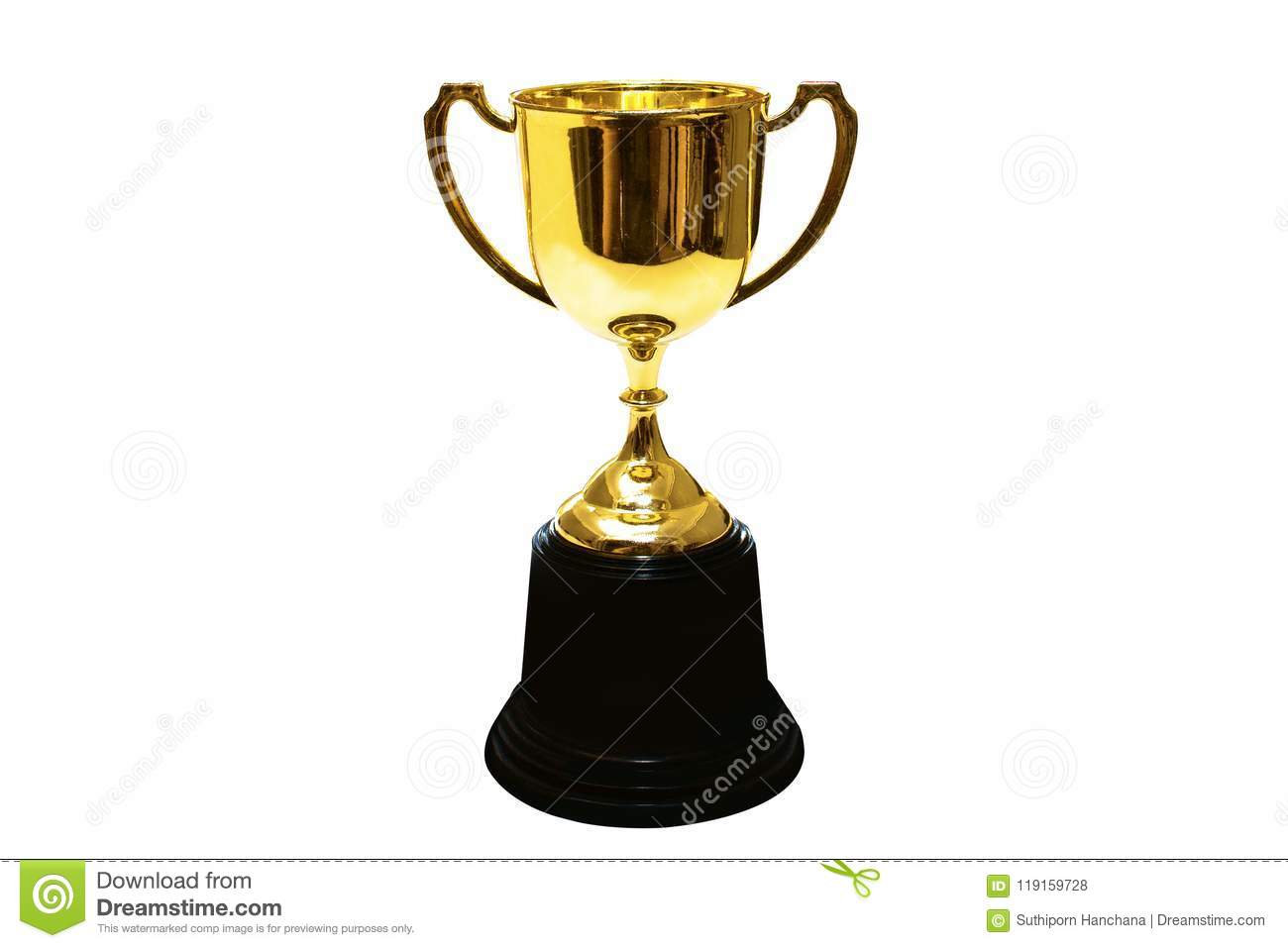Golden cup isolate on background.Copy space.Clipping path.