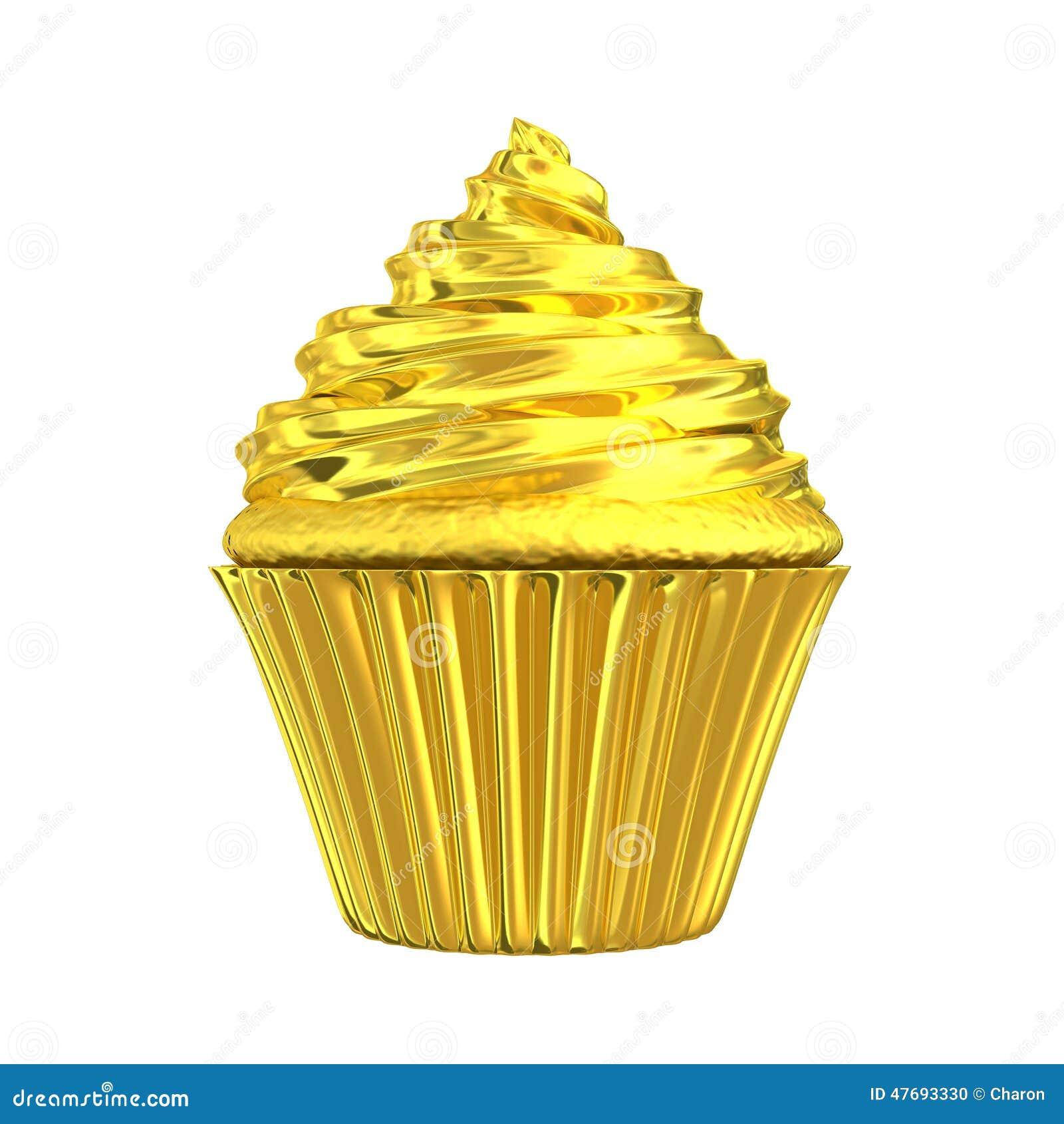Cake Decorating Shiny Icing : Cupcake Golden Shiny Gold Cake Stock Illustration - Image ...