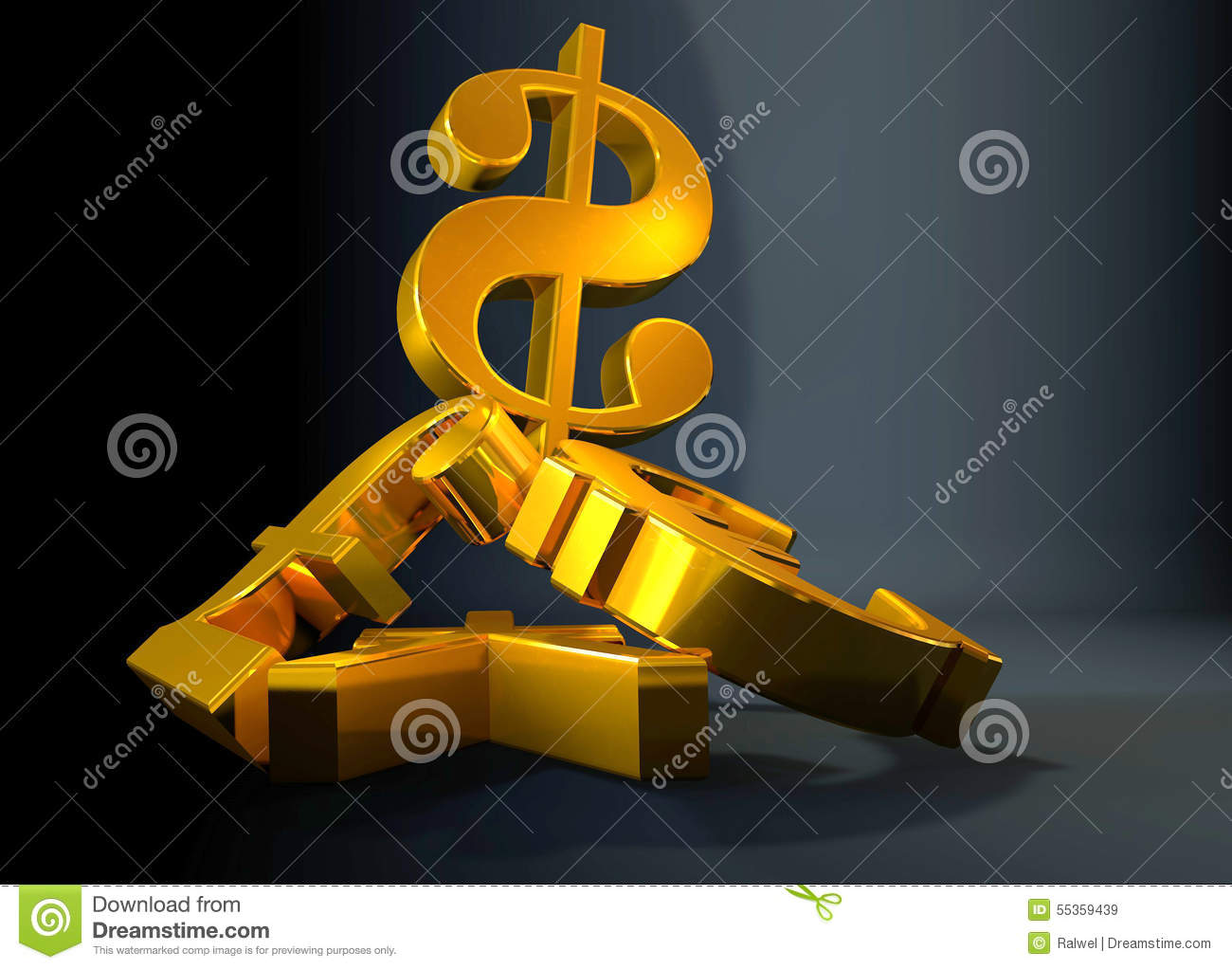 Golden currency us dollar symbol rising over a pile of poundeuro golden currency us dollar symbol rising over a pile of poundeuroyen buycottarizona Choice Image