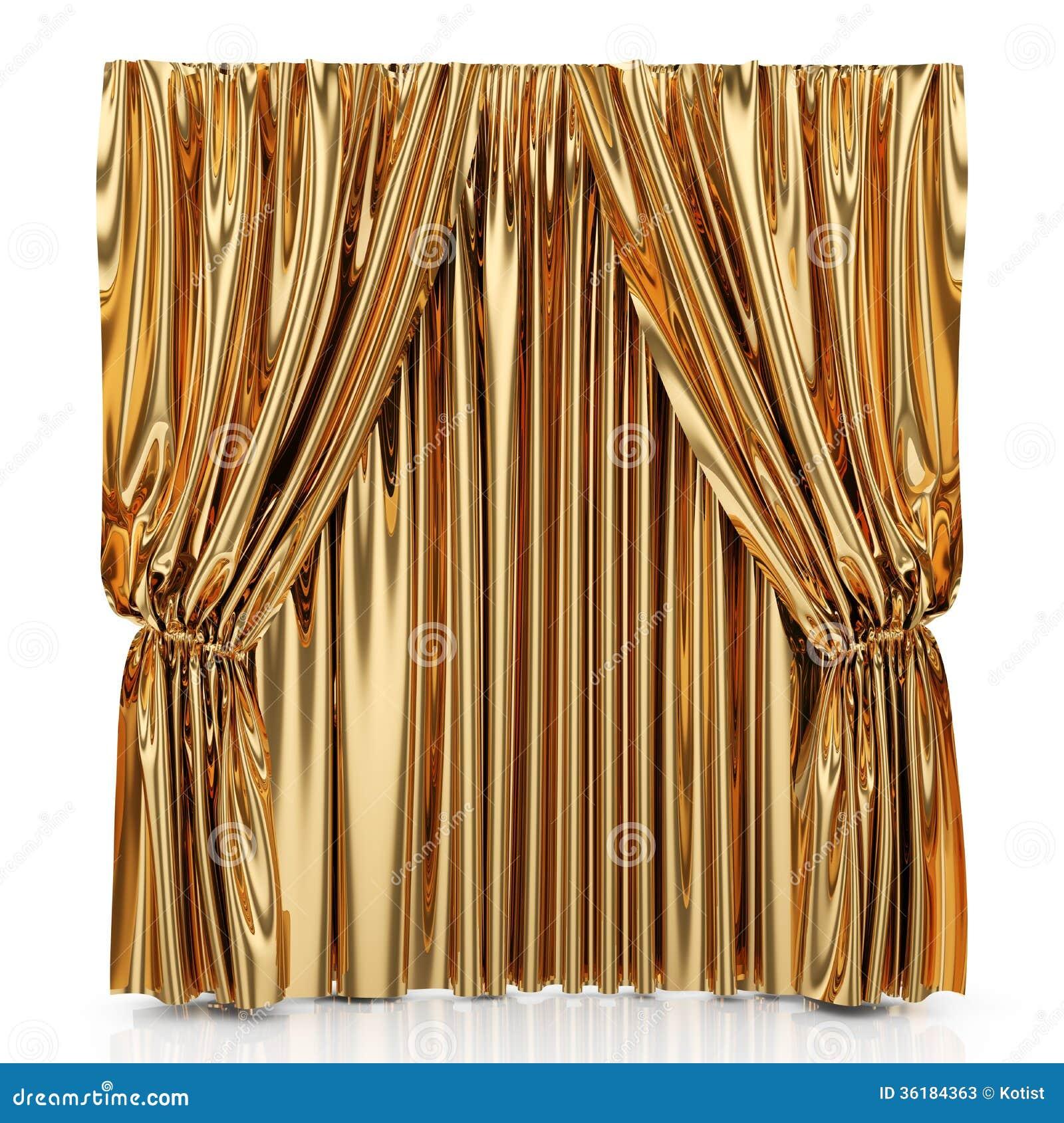 Golden Curtains Stock Photos - Image: 36184363
