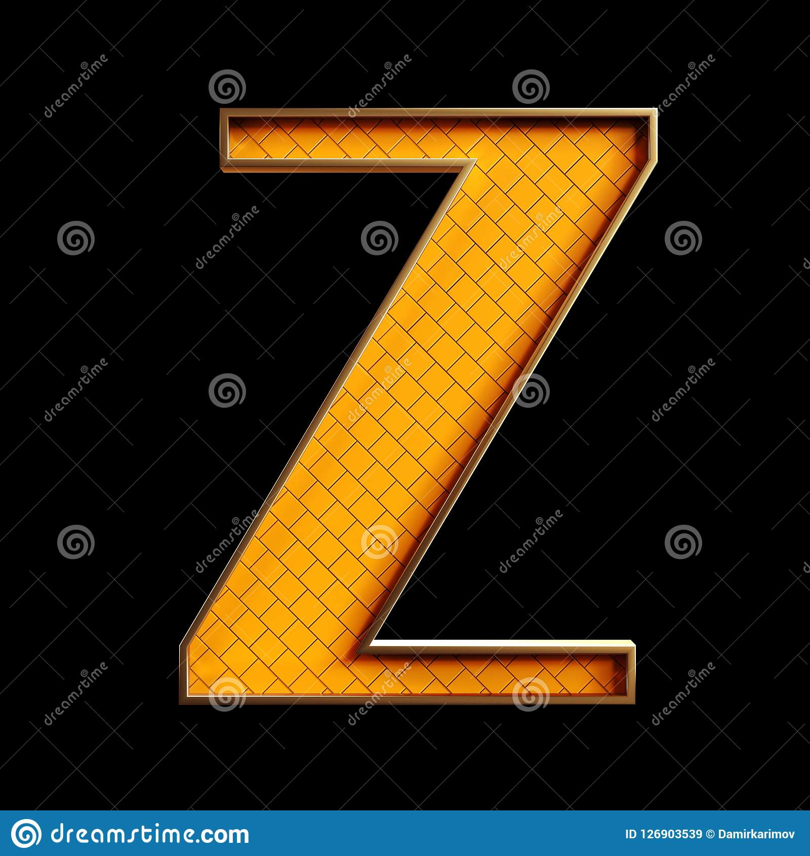 Golden 3d Alphabet And Numbers Stock Illustration