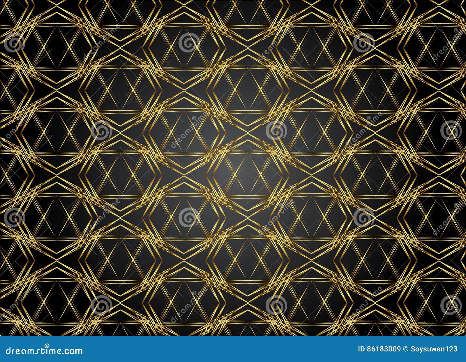 Golden and Dark pattern vintage backgrounds for design.