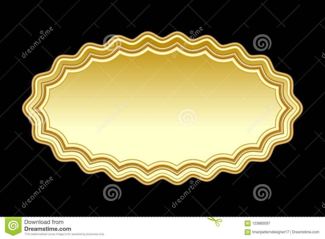 golden decorated badge with copy space stock vector illustration