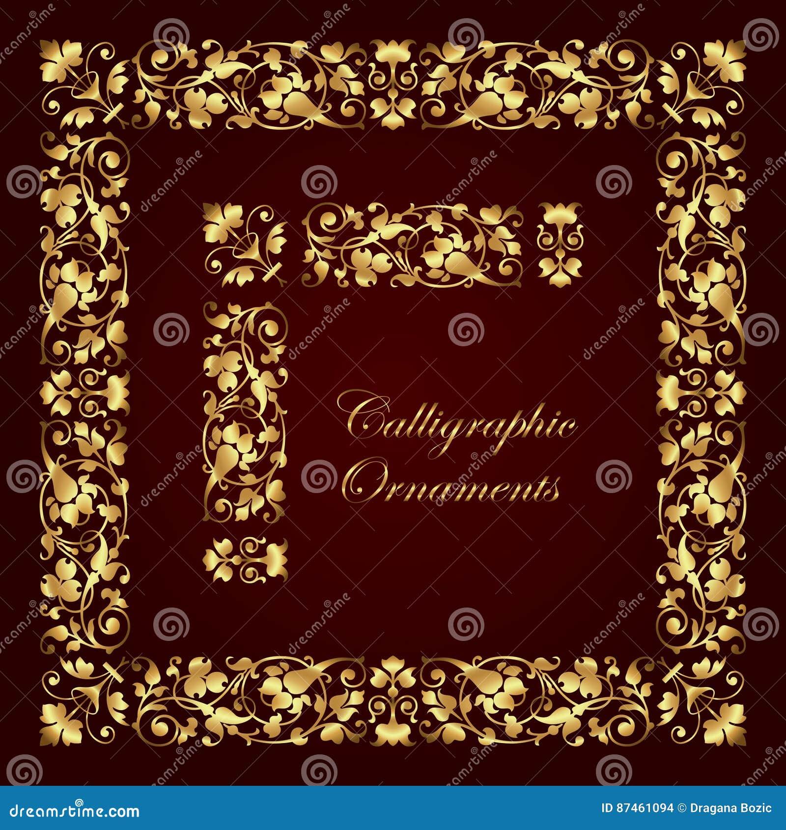 Golden Decorative Calligraphic Ornaments Corners Borders And