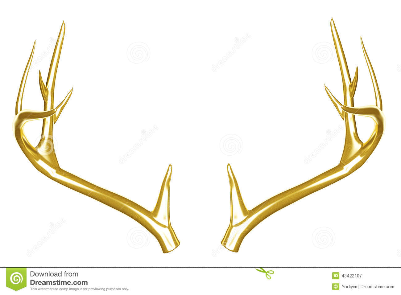 Golden Deer Antlers. Stock Photo - Image: 43422107