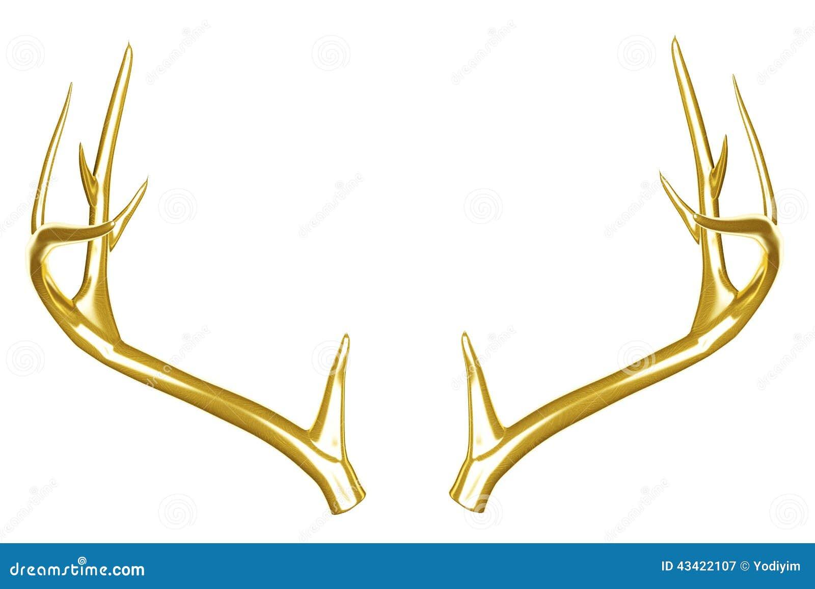 Golden deer antlers. stock image. Image of strong, antler - 43422107