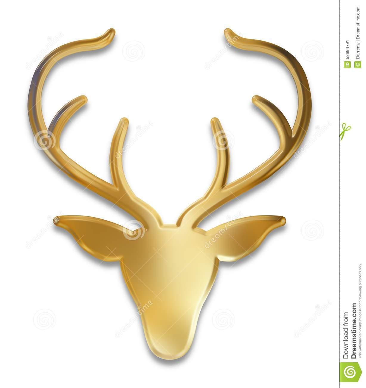 Golden Deer Head Stock Illustration Image 53694791