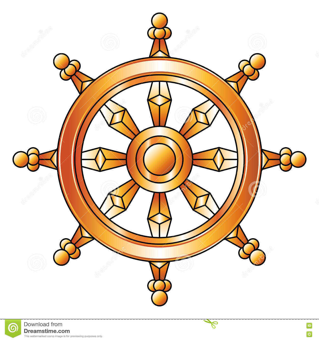 3D Golden Buddhism Symbol Wheel Of Dharma Stock Image ...