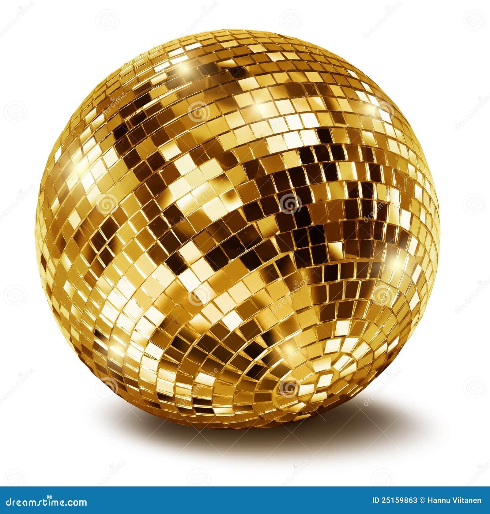 Golden disco mirror ball