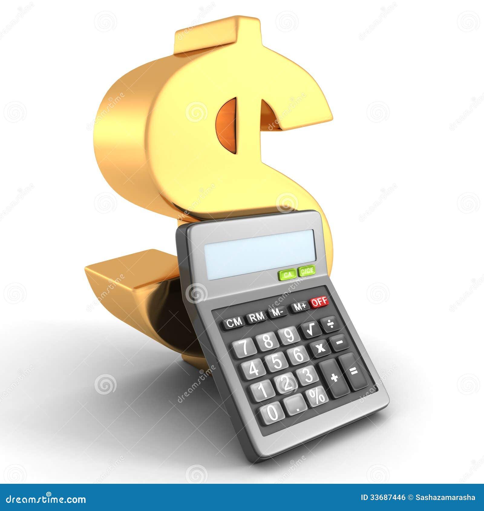 Golden Dollar Financial Symbol With Office Calculator