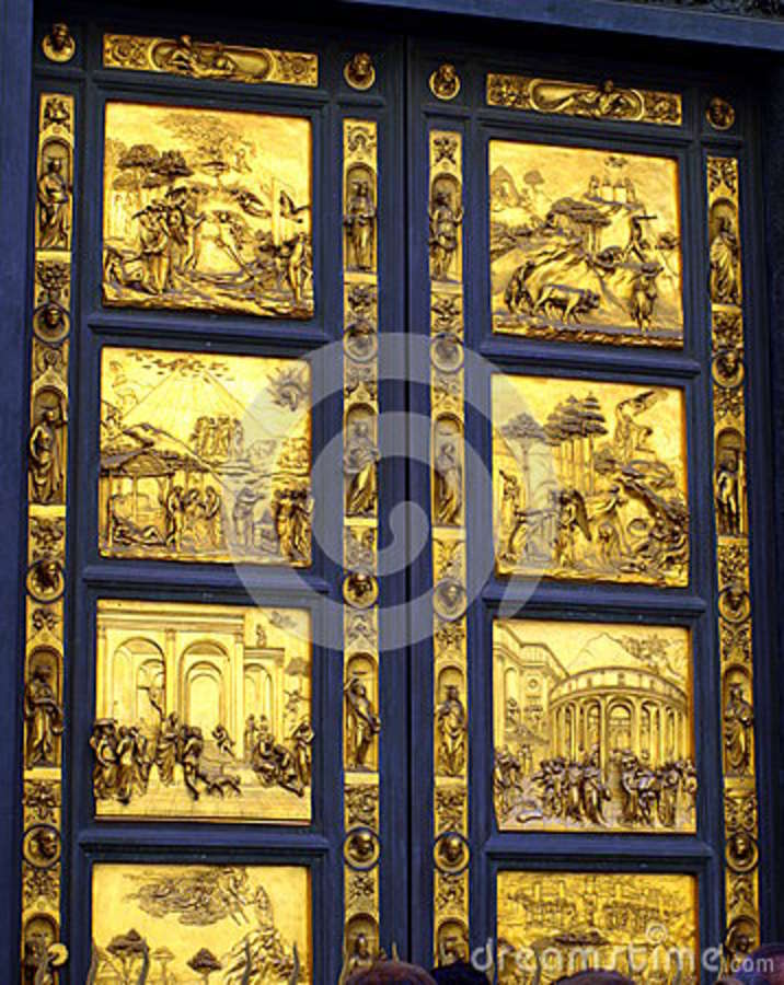 Golden Door On Florence Baptistery Tuscany Italy Stock ...