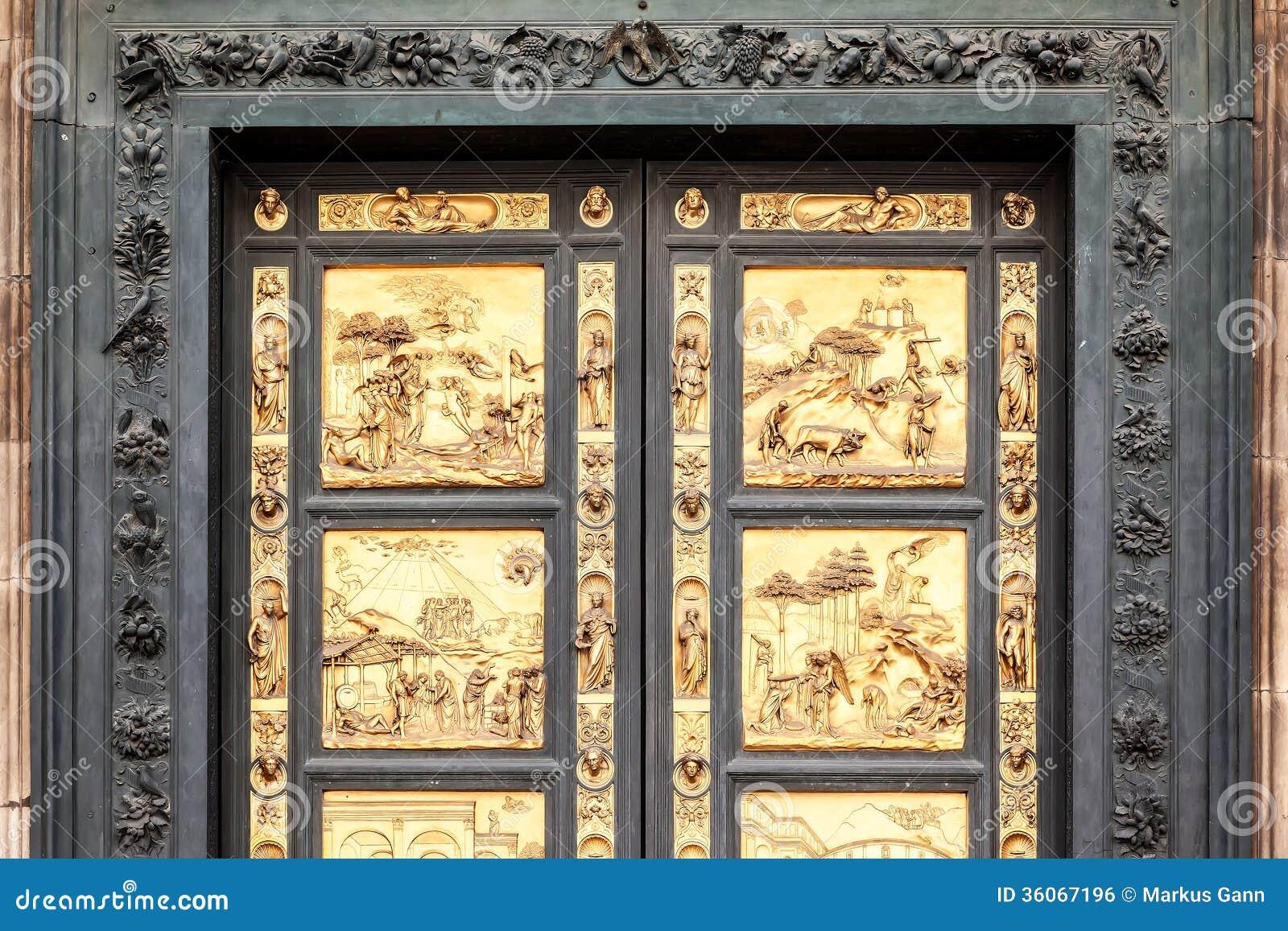 Golden Door in Florence stock photo. Image of ghiberti ...