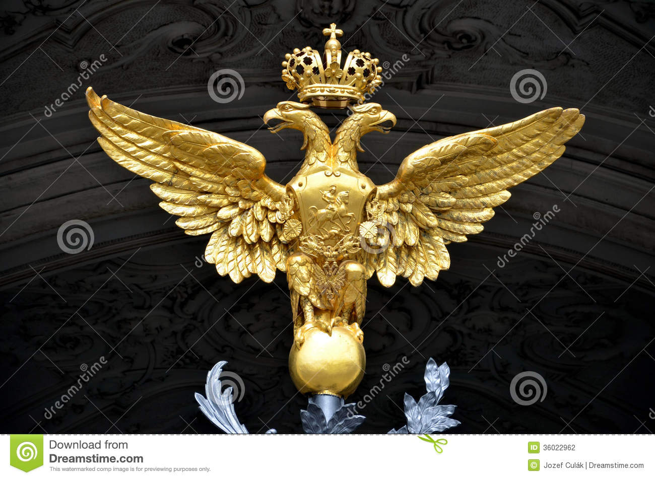 Golden double headed eagle as a russian national emblem