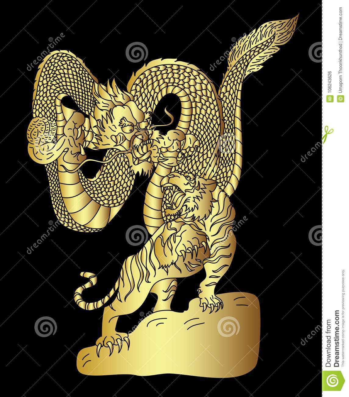 b089035af Golden Dragon Fighting With Tiger Tattoo. Stock Vector ...