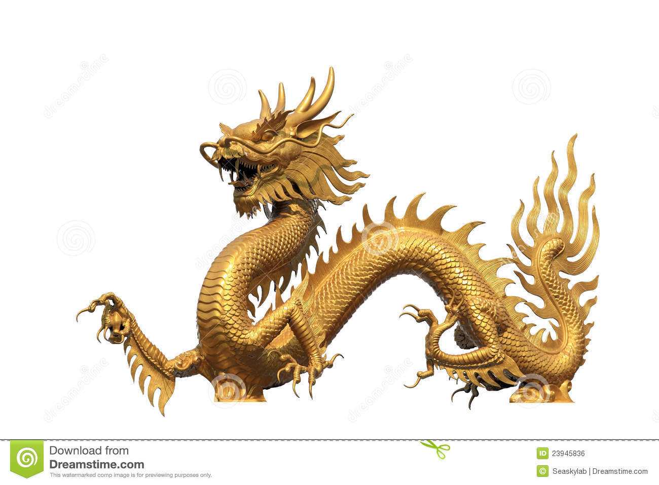 Golden Dragon Statue Royalty Free Stock Image - Image: 23945836