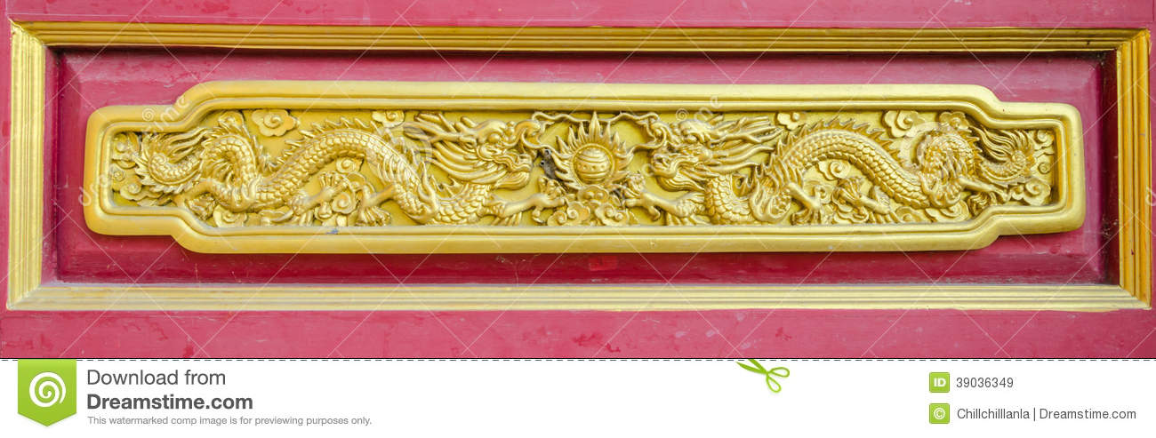Golden dragon wall art stock image. Image of door, sculpture - 39036349