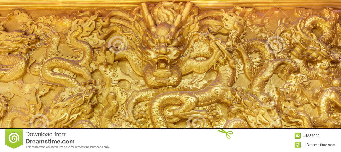 Golden dragon wall stock photo. Image of east, good, strength - 44257092